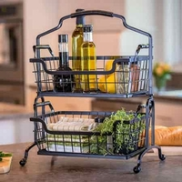 Wire Basket Storage Stand with Handle