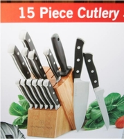 wolfgang puck 15 piece cutlery set - cutlery set with block