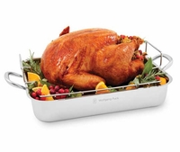 "Wolfgang Puck 16.5"" Stainless Steel turkey roasters and Rack"