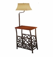 Wrought Iron Magazine Rack with Floor Lamp