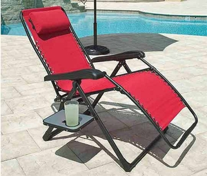 Zero Gravity Lounge Chair with Drink Holder & Side Table - Red
