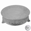 "Round 16"" Embossed Nickel plated Cake Plateau"
