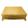 "Square 18"" Embossed Gold plated Cake Plateau"