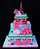 Stacked Gift Box Cake with the Eiffel Tower by Jessica Keller