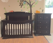 Madison crib and chest java or dark grey