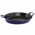 "Staub Cast Iron 12.5"" x 9"" Oval Baking Dish - Visual Imperfections - Dark Blue"