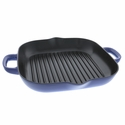 """Staub Cast Iron 12"""" Grill Pan - Visual Imperfections - Royal Blue"""