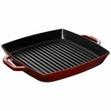 "Staub Cast Iron 13"" Square Double Handle Grill Pan - Visual Imperfections - Grenadine"