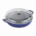 Staub Cast Iron 3.5-qt Braiser with Glass Lid - Dark Blue