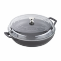 Staub Cast Iron 3.5-qt Braiser with Glass Lid - Matte Black