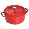 Staub Cast Iron 4-qt Round Cocotte - Visual Imperfections - Cherry