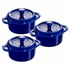 Staub Ceramic 3-pc Mini Round Cocotte Set - Dark Blue