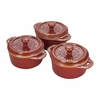 Staub Ceramic 3-pc Mini Round Cocotte Set - Rustic Red