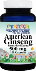 1276 American Ginseng Standardized Extract 500mg 100caps Buy 1 Get 2 Free