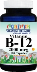 3607 B-12 Vitamins 2000mcg 100caps Buy 1 Get 2 Free