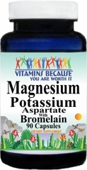 4376 Magnesium Potassium Aspartate and Bromelain 90caps Buy 1 Get 2 Free