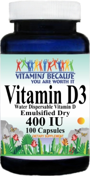 5489 Vitamin D3 (Emulsified Dry)  400IU 100caps Buy 1 Get 2 Free