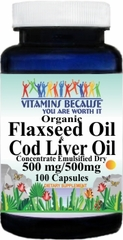 5908 Organic Flaxseed and Cod Liver Oil (Emulsified Dry) 100caps Buy 1 Get 2 Free