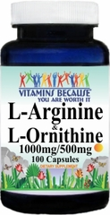 6202 L-Arginine and L-Ornithine 1000mg/500mg 100caps Buy 1 Get 2 Free