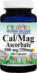 6721 Calcium and Magnesium Ascorbate 500mg/250mg 100caps Buy 1 Get 2 Free