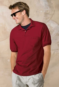 Hanes Men's 50/50 EcoSmart Jersey Polo with Pocket