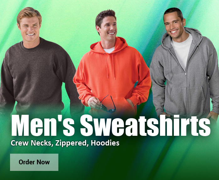 Men�s Sweatshirts. Pullovers, Zippered, Crew Necks