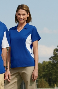 Ladies Side Blocked 100% Polyester Micro Pique Polo