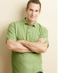 Men's 100% Cotton Pique Polo with Three-Button Placket