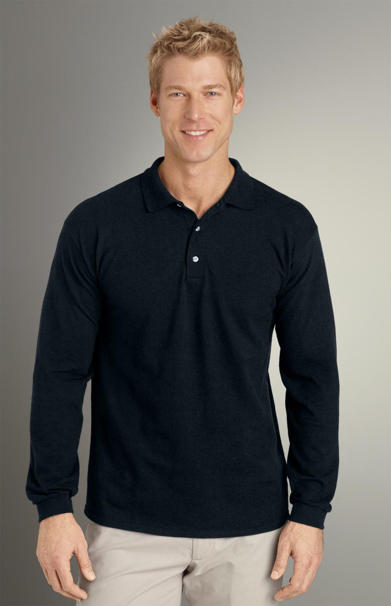 Men 39 s long sleeve 100 cotton pique polo for Man in polo shirt