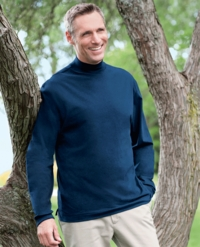 Men's Long Sleeve Sueded Cotton Jersey Mock Turtleneck