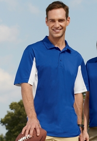 Men's Side Blocked 100% Polyester Micro Pique Polo