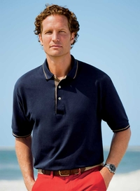 Men's Tipped Collar Pique Polo Shirt