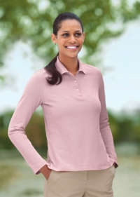 Women's Long Sleeve 100% Peruvian Pima Pique Polo