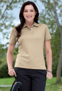 Women's Pima Interlock Polo with Three-Button Placket
