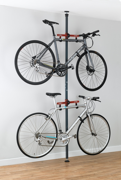 Bike storage rack for apartment pressure mount - Bike storage small space design ...