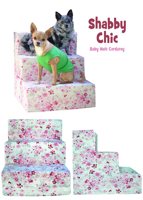 Shabby chic baby wale corduroy pet flys pet steps for Shabby chic dog