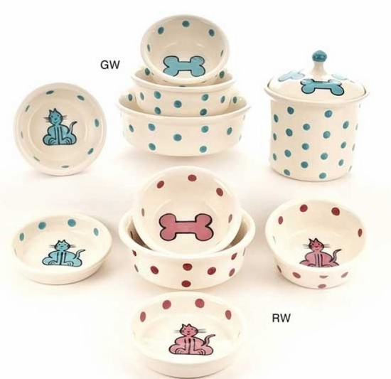 Red or Teal Cat & Bone Design Bowl or treat Jar