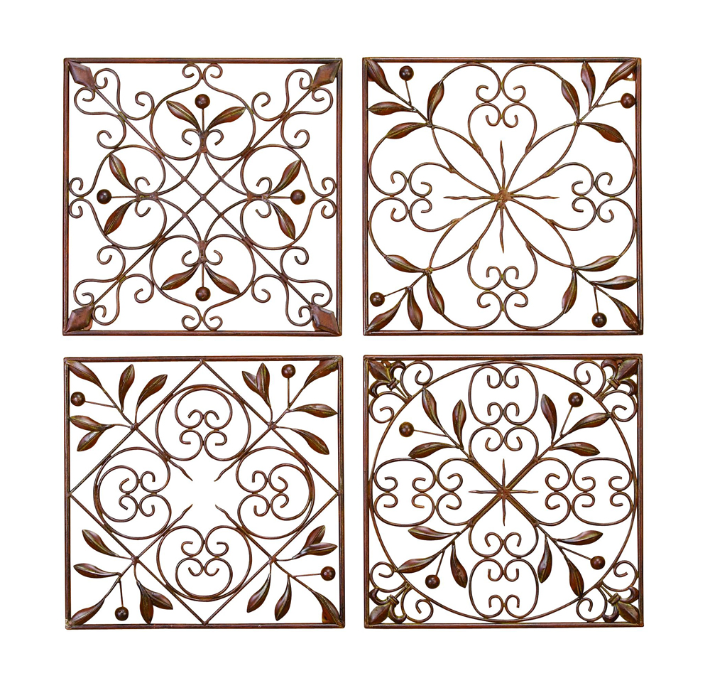 Artisan scroll wrought iron wall grilles set of 4 for Deco metal mural