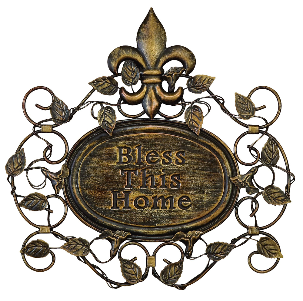 Fleur De Lis Home Decor Wall Art ~ Blessed home fleur de lis wall plaque