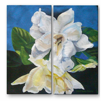 Cascading Gardenias Flower Wall Art
