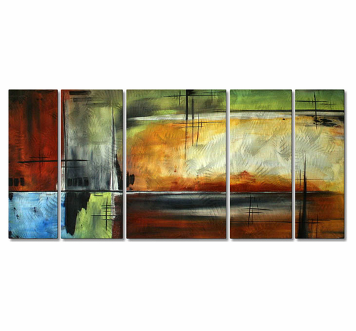 Colors of Solace Handmade Five-Panel Metal Wall Art