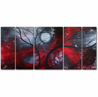 Crimson Moonlight Tree Five-Panel Metal Wall Art