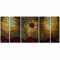 Forest Abundance Handmade 5-Panel Trees Metal Wall Art