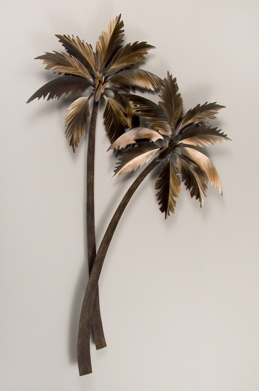 Palm Tree Metal Wall Art gently swaying palm trees metal art sculpture