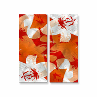 Layered Orange Flower Wall Art