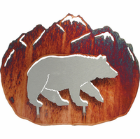 Mountain Climbing Bear Metal Wall Hanging