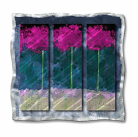 Palms in Fuchsia Abstract Metal Wall Art