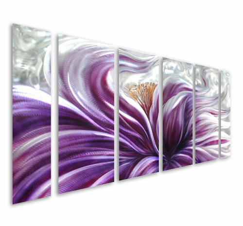 Passionate Hibiscus Six-Panel Metal Wall Art Hanging