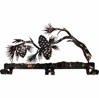 Pine Tree with Pinecones Metal Wall Coat Rack