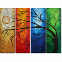 Primary Brilliance Handmade Tree Metal Wall Art Set of 4